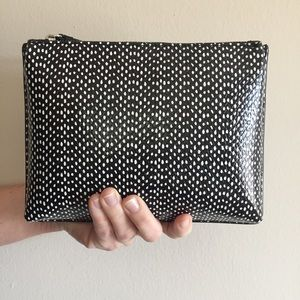 banana republic | dot leather pleated zip pouch